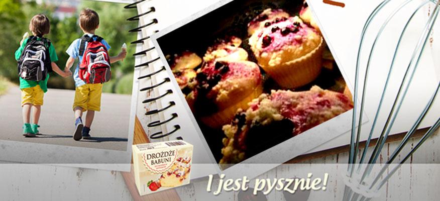 Drożdżowe babeczki z jagodami